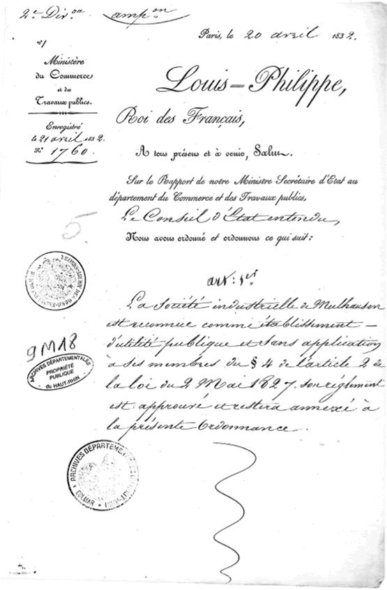 Ordonnace royale Louis Philippe -1832